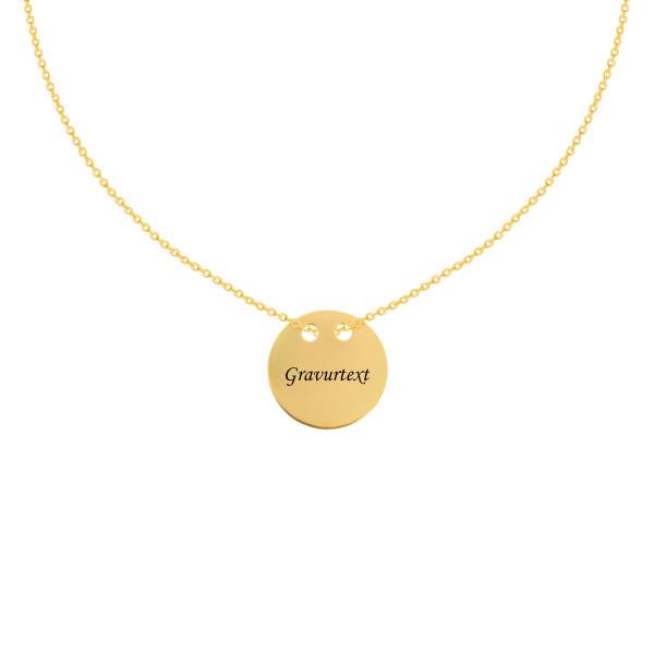 585er Gelbgold Kette mit Plättchen Anhänger Gravur Halskette Collier 14K inkl. Etui