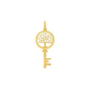 585er Gelbgold Anhänger mit Schlüssel und Lebensbaum Halskette Collier 14K inkl. Etui