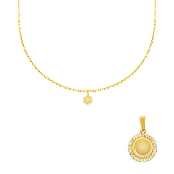 585er Gelbgold Anhänger mit Kreis Zirkonia Halskette Solitär Collier 14K inkl. Etui