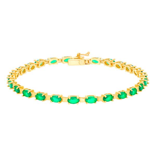 585er Gold Armband mit Smaragd 19 cm Smaragdarmband Smaragdschmuck Armschmuck Etui
