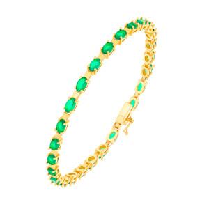 585er Gold Armband mit Smaragd 19 cm Smaragdarmband...