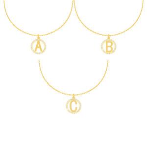 585er Gold Halskette mit Runde Zirkonia Buchstaben...