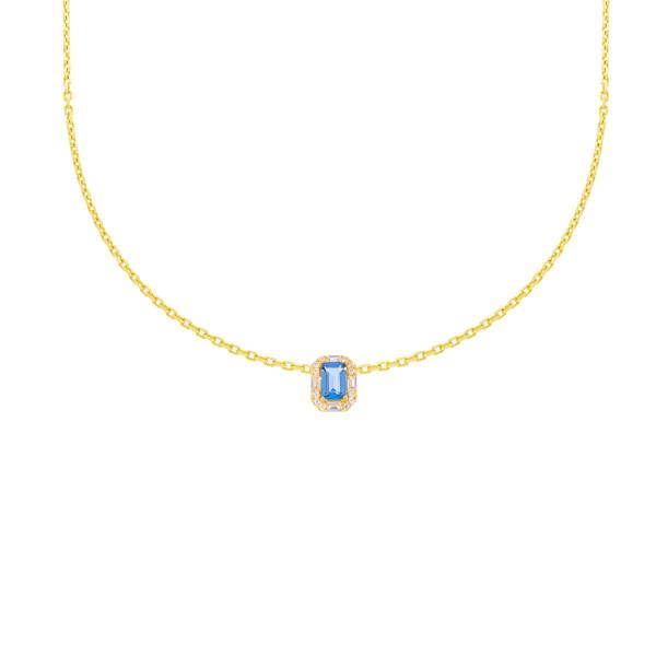 585er Gelbgold Halskette mit Anhänger Zirkonia Solitär Collier 14K inkl. Etui