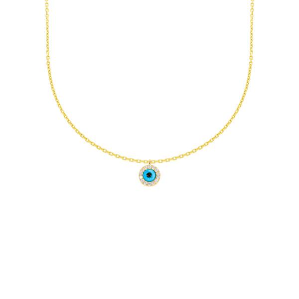 585er Gelbgold Halskette mit Anhänger Zirkonia Solitär Nazar 14K inkl. Etui