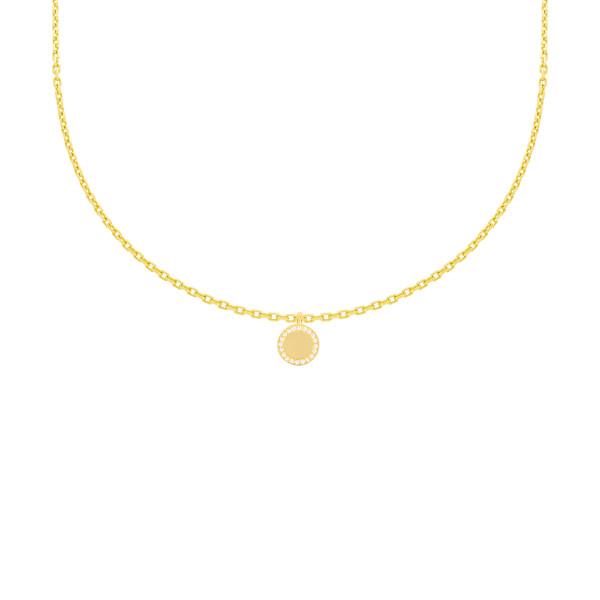 585er Gelbgold Halskette mit Anhänger Zirkonia Solitär Kreis 14K inkl. Etui