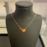 585er Gold Collier mit Herz Anhänger Anhänger Kette Halskette Ankerkette 14K Ausverkauf