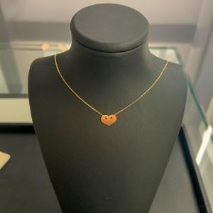 585er Gold Collier mit Herz Anhänger Kette Halskette...