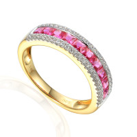585er Gelbgold Damenring mit Rubin Gr. 54 Edelstein Ring Memoire Eternity