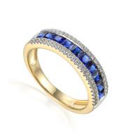 585er Gelbgold Damenring mit Saphir Gr. 54 Edelstein Ring Memoire Eternity