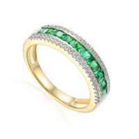 585er Gelbgold Damenring mit Smaragd Gr. 54 Edelstein Ring Memoire Eternity
