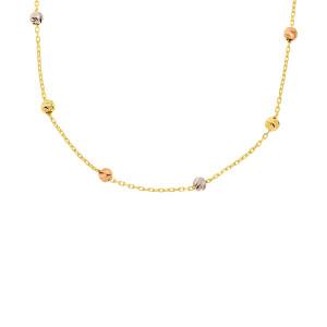 585er Gold Collierkette mit Kugeln Tricolor