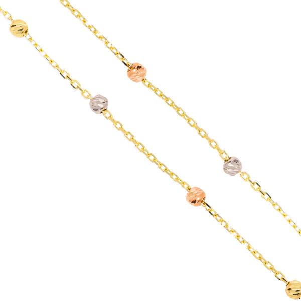Damen Armband 585er Gold mit Kugeln Tricolor Plättchen Armkette Goldarmband