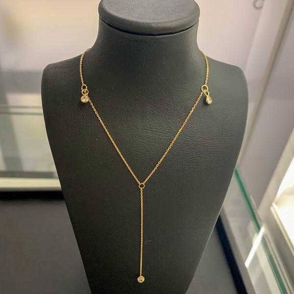 585er Collier mit Drei Steine Anhänger Kette Halskette Ankerkette 14K Ausverkauf