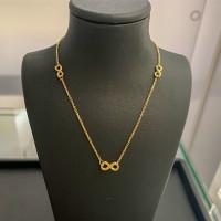 585er Gelbgold Collier mit Infinity Anhänger Kette Halskette Ankerkette 14K Ausverkauf