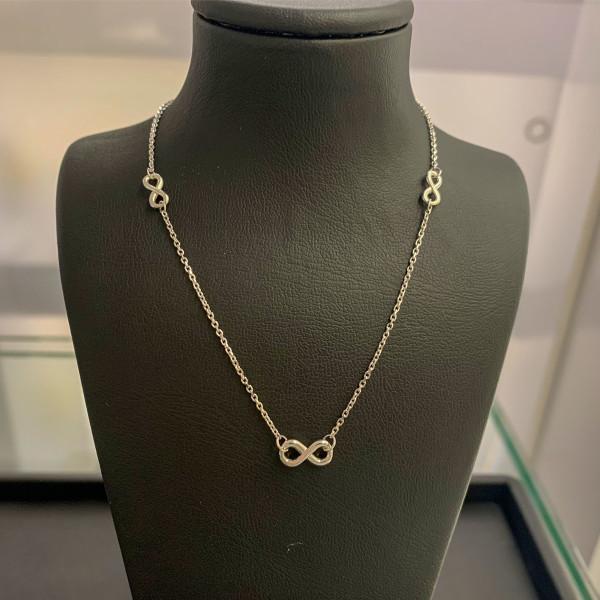 585er Weißgold Collier mit Infinity Anhänger Kette Halskette Ankerkette 14K Ausverkauf