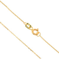 585er Collierkette mit Gravurplatte Rund Platte Hand und Fuss  Gold Kette  -Ø20