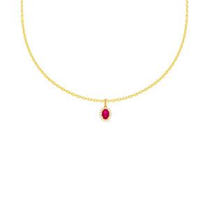 585er Gelbgold Anhänger mit synth. Rubin Halskette...