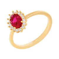 585er Gelbgold Damenring mit synth. Rubin Ring Goldring Verlobungsring Antragsring