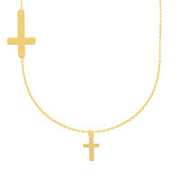 585er Gold Kette mit Kreuz Anhänger  inkl. Etui Halskette Collier Ankerkette