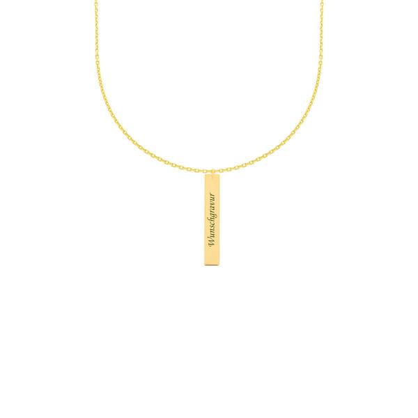 585er Gelbgold Kette mit Gravurplatte Anhänger Halskette Collier Goldener Bar