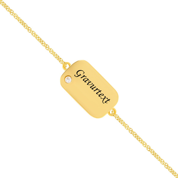 Armband 585er Gelbgold Gravurplatte mit Zirkonia Armkette Goldarmband Goldener Bar