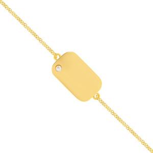 Armband 585er Gelbgold Gravurplatte mit Zirkonia Armkette...