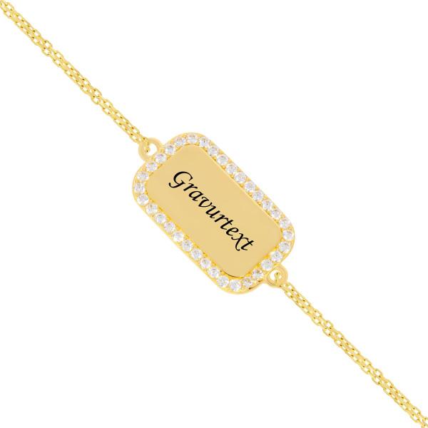 Armband 585er Gelbgold Gravurplatte mit Zirkonia Goldarmband Armkette Goldener Bar