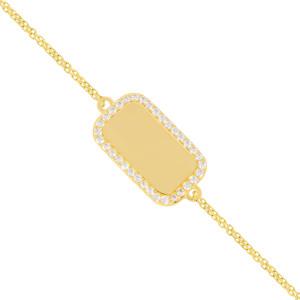 Armband 585er Gelbgold Gravurplatte mit Zirkonia...