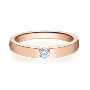 375er Rotgold Spannring mit Diamant 0,10ct. Verlobungsring Antragsring Solitär