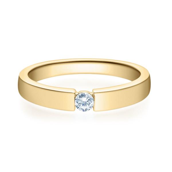 375er Gelbgold Spannring mit Diamant 0,05ct. Verlobungsring Antragsring Solitär