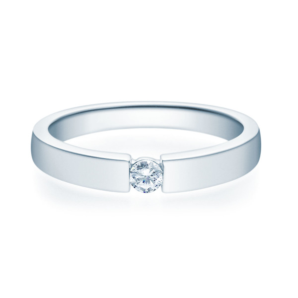 375er Weißgold Spannring mit Diamant 0,11ct. Verlobungsring Solitär Antragsring