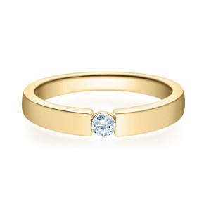 375er Gelbgold Spannring mit Diamant 0,10ct. Solitär...