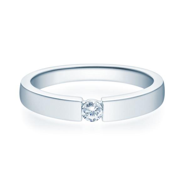 375er Weißgold Spannring mit Diamant 0,10ct. Antragsring Verlobungsring Gr. 54