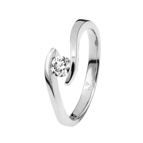 375er Weißgold Spannring mit Diamant 0,06ct. Antragsring Verlobungsring Gr. 54