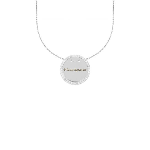 925er Sterling Silber Kette mit Gravurplatte Ø26 Anhänger Zirkonia Halskette Collier