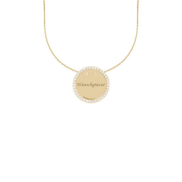 925er Sterling Silber Vergoldet Kette mit Gravurplatte Anhänger Ø28 Halskette Collier