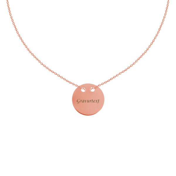 925er Sterling Silber Vergoldet Kette mit Gravurplatte Ø24 Collier Halskette