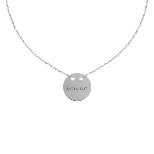 925er Sterling Silber Kette mit Gravurplatte Anhänger Ø24 Collier Halskette