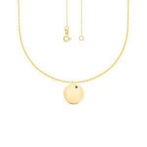 585er Gold Kette mit Kreis Anhänger Gravur Auge Nazar Namenskette Collier Gravurplatte