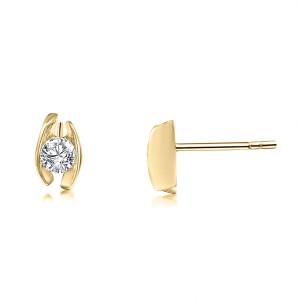 585er Gelbgold Diamanten Ohrstecker Spannfassung Ohrringe...