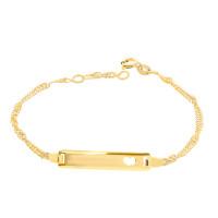 585er Gold ID Armband mit Herz Singapurkette Goldarmband Armkette Kinderarmband
