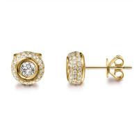 Paar 585er Gelbgold Diamanten Ohrstecker 0,50ct Solitaire Ohrringe Brilliant 14K