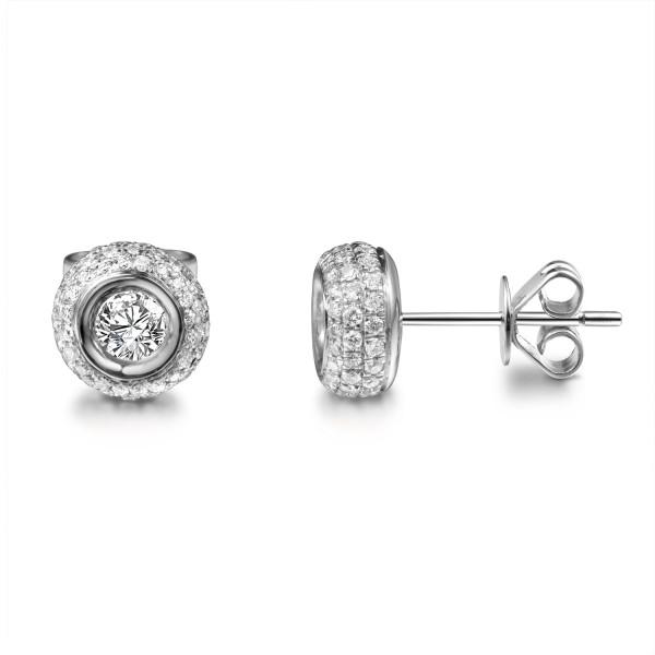 Paar 585er Weißgold Diamanten Ohrstecker 0,50ct Solitaire Ohrringe Brilliant 14K