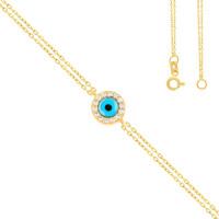 Damen Armband 585er Gelbgold Plättchen Kreis Glücksauge Nazar Armkette Goldarmband