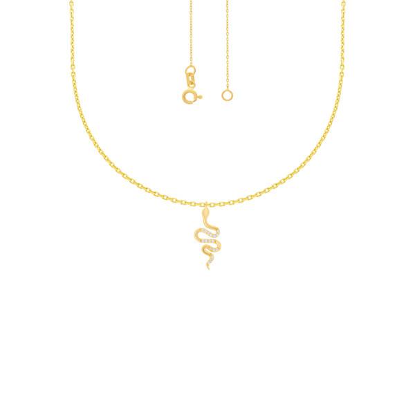 585er Gelbgold Kette mit Schlange Anhänger Zirkonia Halskette Collier 14K