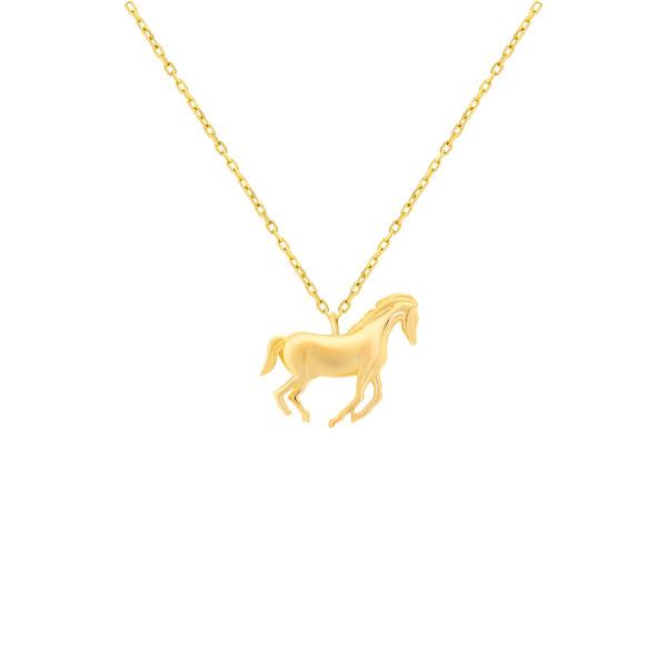 585er Gelbgold Kette mit Pferd Anhänger Halskette Collier 14K inkl. Etui