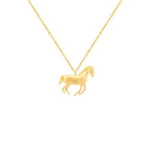 585er Gelbgold Kette mit Pferd Anhänger Halskette...
