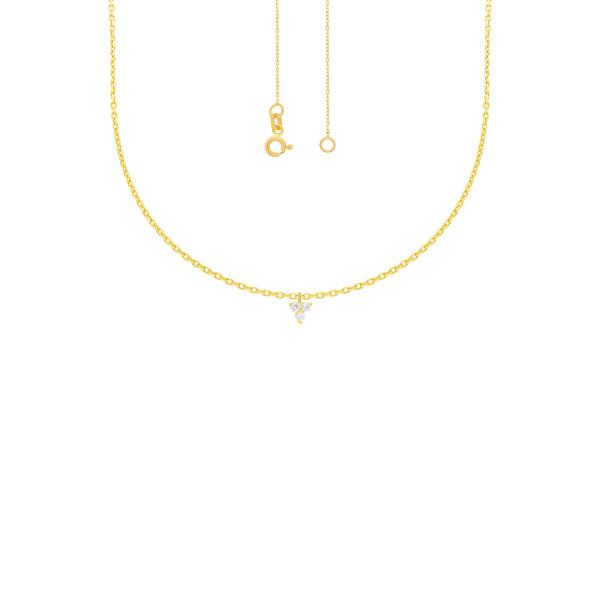 585er Gelbgold Kette mit 3xZirkonia Anhänger Zirkonia Halskette Collier 14K