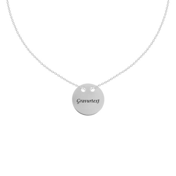 585 Weißold Kette mit Plättchen Anhänger Gravur Halskette Collier 14K inkl. Etui