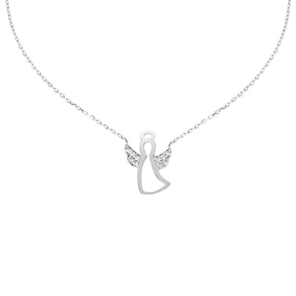 585er Weißgold Engel Halsketten Anhänger mit Zirkonia Kette Collier 14K inkl. Etui
